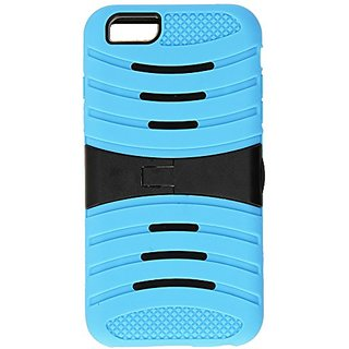JUJEO iPhone 6 Plus 3-In-1 Rugged PC and Silicone Case Cover with Kickstand - Non-Retail Packaging - Baby Blue