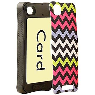 Cell Armor iPhone 4/4s PIcardie Protective Cover - Retail Packaging - Yellow with Pink/Blue/White Chevron on Black