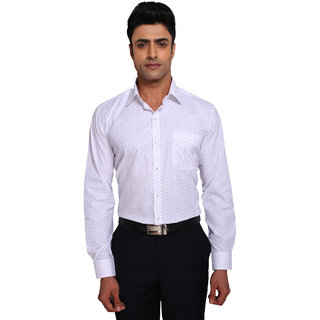Warewell Men's Regular Fit  Pure Cotton White Shirt