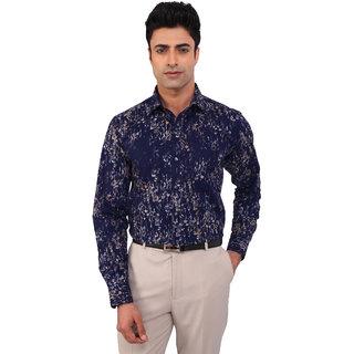 Warewell Men's Regular Fit  Pure Cotton Navy Shirt