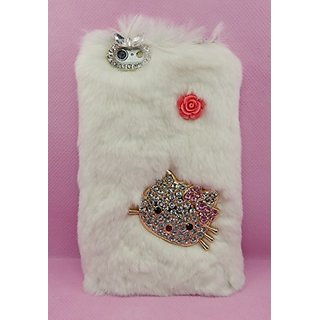 Crystal Fashion Rabbit Fur Covered & Crystal Studded Kitty Cat Hard Shell Cover for iPhone 6 (4.7