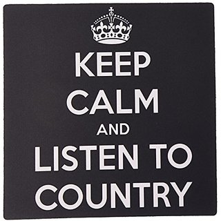 3dRose LLC 8 x 8 x 0.25 Inches Mouse Pad, Keep Calm and Listen to Country Black and White (mp_173402_1)