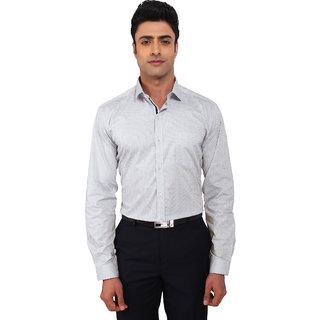 Warewell Men's Slim Fit Pure Cotton Light Grey Shirt