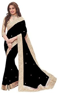 Bhavna creation Black  Georgette  Lace Saree With Blouse