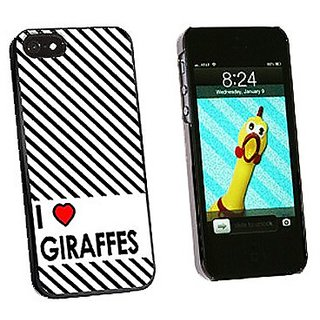 Graphics and More I Love Heart Giraffes Snap-On Hard Protective Case for iPhone 5/5s - Non-Retail Packaging - Black