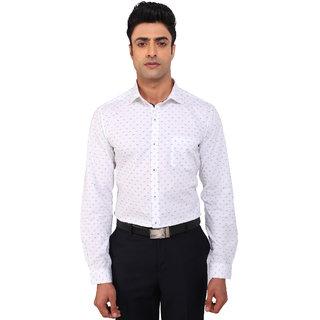 Warewell Men's Slim Fit Pure Cotton White Shirt