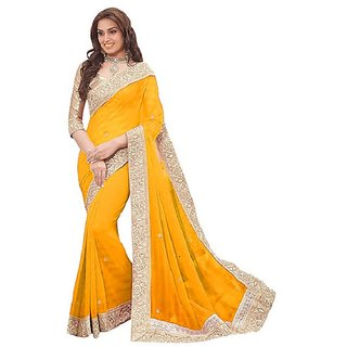 Bhavna creation Yellow  Georgette  Lace Saree With Blouse