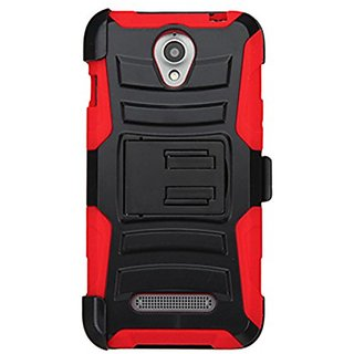 MyBat Carrying Case for ZTE-Z820 (Obsidian) - Retail Packaging - Black/Red