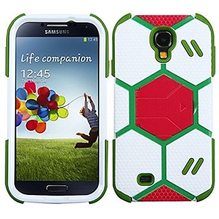 MYBAT Goalkeeper Hybrid Protector Cover with Stand for the Samsung Galaxy S4 - Retail Packaging - White/Grass Green
