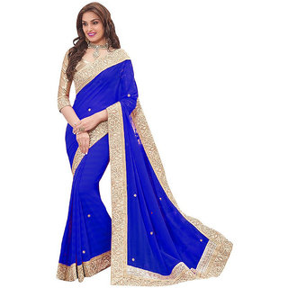 Bhavna creation Blue Georgette Lace Saree With Blouse