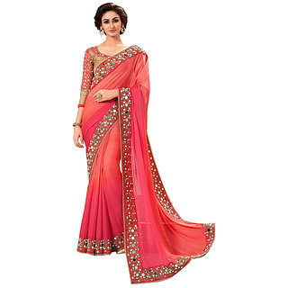 Bhavna creation Orange  Georgette  Embroidered Saree With Blouse