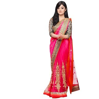 Bhavna creation Pink  Georgette  Embroidered Saree With Blouse