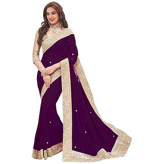 Meia Maroon Georgette Lace Saree With Blouse