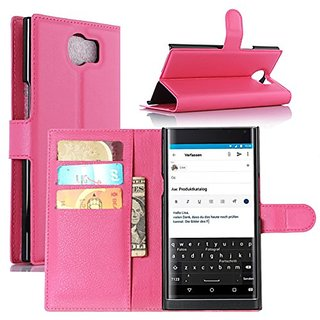 Fettion Blackberry Priv Case, Premium PU Leather Wallet Protective Phone Cases Flip Cover with Stand Card Holder for Bla