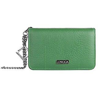 Lencca Kymira Vegan Leather Smartphone Clutch Wallet Purse with Removable Chain Wrist Strap - Gem/Sage