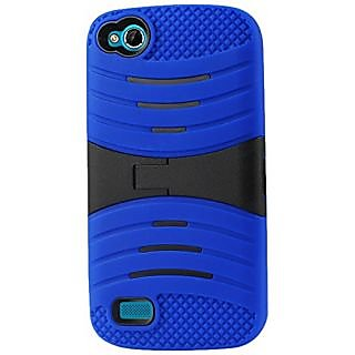 Reiko Silicon Case with Kickstand for BLU Life Play L100A - Retail Packaging - Navy black