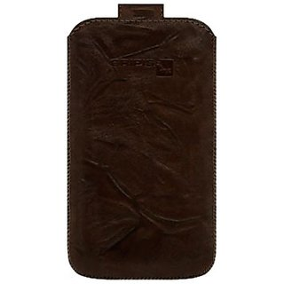 Gripis 2108055235 Handmade Leather Pouch with Pull Tab for HTC HD7 - Non-Retail Packaging - Brown