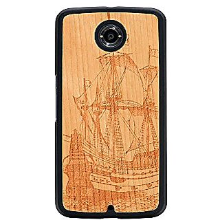 CARVED Galleon Engraved Cherry Nexus 6 Slim Matte Black Case - Retail Packaging - Wood