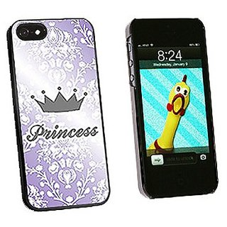 Graphics and More Princess Crown Purple Damask Spoiled Snap-On Hard Protective Case for iPhone 5/5s - Non-Retail Packagi
