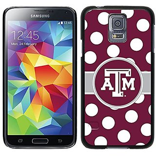 Coveroo Texas A&M Polka Dots Design Phone Case for Samsung Galaxy S5 - Retail Packaging - Black/Black