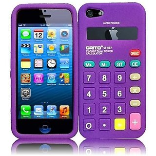 HR Wireless Calculator Silicone Carrying Case for iPhone 5/5S - Retail Packaging - Dark Purple