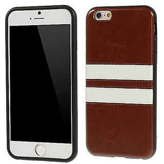 Apple iPhone 6 - Crazy Horse Design PU Leather Skin TPU Gel Carring Case, Snap-On Cover - Brown