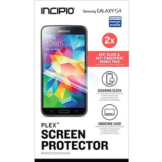 Incipio PLEX Anti-Glare & Anti-Fingerprint Screen Protector Double Pack for Samsung Galaxy S5 - Retail Packaging