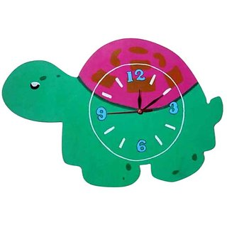 Purple Circle Green Turtle Wall Clock
