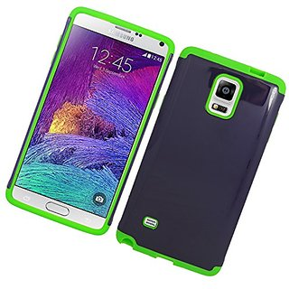 Eagle Cell Hybrid Silicone Hard Case for SAMSUNG Galaxy Note 4 - Retail Packaging - Green/Blue