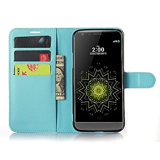 LG G5 Case, Demo@ Flip Pu Leather Wallet Pouch Case Cover with Stand / Card Slots for LG G5 (Wallet-Blue)