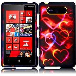 HR Wireless Nokia Lumia 820 Rubberized Protective Cover - Retail Packaging - Colorful Hearts