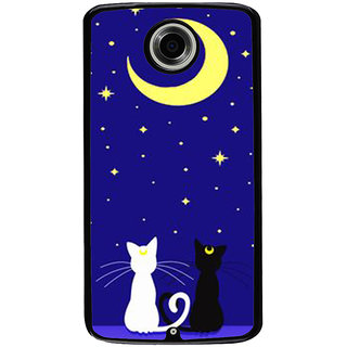 Ayaashii Two Cats With Moon Back Case Cover for Motorola Google Nexus 6