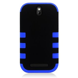 Eagle Cell PAHTCONESVD6BLBK Hybrid Rugged TUFF eNUFF Case for the HTC One / M7 - Carrying Case - Retail Packaging - Blue