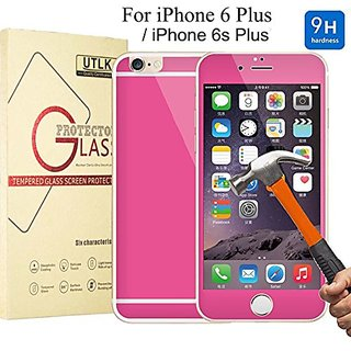 iPhone 6 Plus Colorful Ballistic Glass Screen Protector Hot Pink - UTLK Colored Front and Back Premium Tempered Glass Sc