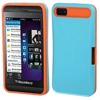 MyBat Blackberry Z10 Card Wallet Back Protector Cover - Retail Packaging - Blue/Orange