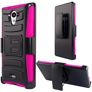 Zizo Sharp Aquos Crystal X 5.5 Heavy Duty Armor Style 2 Case with Holster - Retail Packaging - Pink/Black
