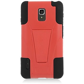 Eagle Cell Hybrid Case Y with Kickstand for LG Optimus F7/US780 - Retail Packaging - Black/Red