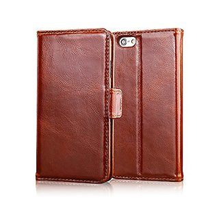 iPhone 6s Plus Case, Feitenn Premium Fashion Real Leather Flip Book Cover Wallet Case Shell with Card Slot Holder Stand