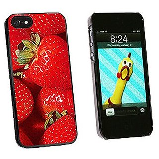 Graphics and More Strawberries Snap-On Hard Protective Case for iPhone 5/5s - Non-Retail Packaging - Black