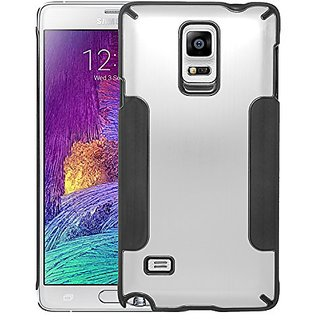 Eagle Cell Luxury Metal Case for SAMSUNG Galaxy Note 4 - Retail Packaging - Silver/Black