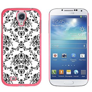 Graphics and More Damask Elegant Black White Snap-On Hard Protective Case for Samsung Galaxy S4 - Non-Retail Packaging