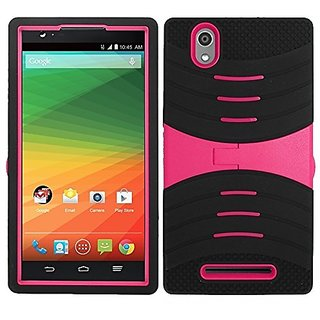 Zizo UCASE Cover with Kickstand for ZTE ZMax Z970 - Retail Packaging - Black/Pink
