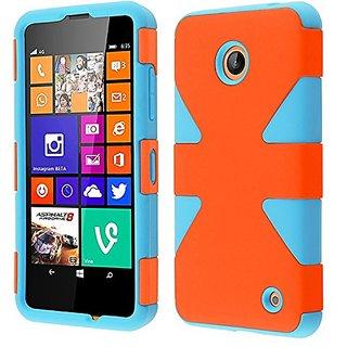 HR Wireless Nokia Lumia 635/630 Dynamic Slim Hybrid Cover Case - Retail Packaging - Orange/Sky Blue