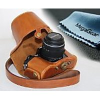 MegaGear Ever Ready Protective Leather Camera Case, Bag For Olympus OM-D E-M10 With 14-42mm (Light Brown)