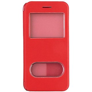 JUJEO Dual View Windows Folio Leather Case for iPhone 6 - Non-Retail Packaging - Red