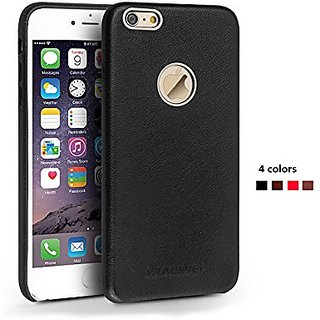 Iphone 6 plus Case of Genuine Leather, QIALINO Stylish Soft Ultra thin Back Cover Protection Phone Case with eyelet (Bla