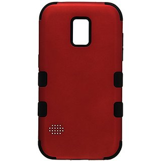 MyBat TUFF Hybrid Phone Protector Cover for Samsung G860P (Galaxy S5 Sport) - Retail Packaging - Black/Red