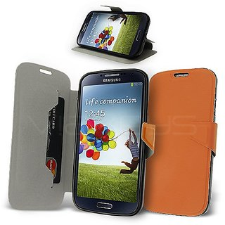 Celicious Orange Ultrathin PU Leather Wallet Case for Samsung Galaxy S4 I9500