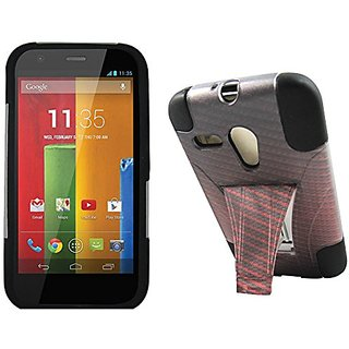 Maxtron Rugged Hybrid Hard T-Stand Dual Armor Case with Screen Proctor for Motorola Moto G XT1032 - Retail Packaging - R