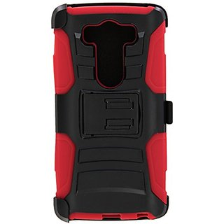HR Wireless Carrying Case for LG V10 G4 Pro - Retail Packaging - Black/Red